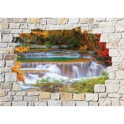 Stickers mural trompe l'oeil pierre déco Rivière
