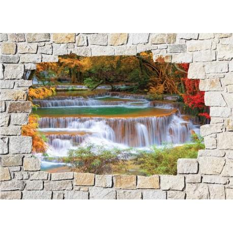 Stickers mural trompe l 39 oeil pierre d co rivi re art - Deco trompe l oeil mural ...