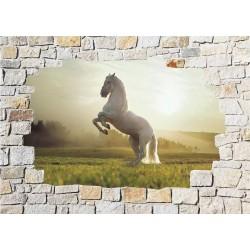 Stickers mural trompe l'oeil pierre déco Cheval