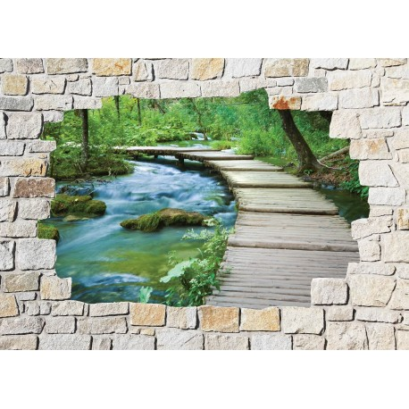 Stickers mural trompe l 39 oeil pierre d co art d co stickers - Deco trompe l oeil mural ...