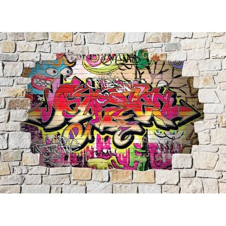 stickers mural trompe l 39 oeil pierre d co graffiti tag art d co stickers. Black Bedroom Furniture Sets. Home Design Ideas