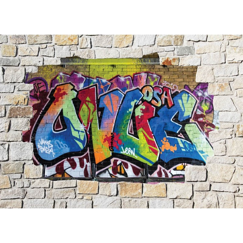 Stickers mural trompe l 39 oeil pierre d co graffiti tag - Sticker trompe l oeil mural ...