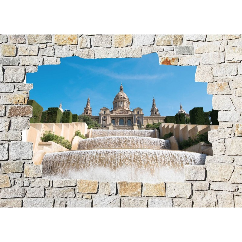 Stickers mural trompe l 39 oeil pierre d co chateau art - Sticker trompe l oeil mural ...