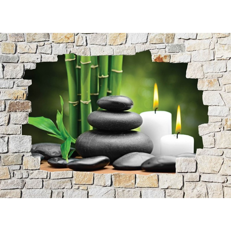 Stickers mural trompe l 39 oeil pierre d co zen art d co stickers - Deco trompe l oeil muurschildering ...