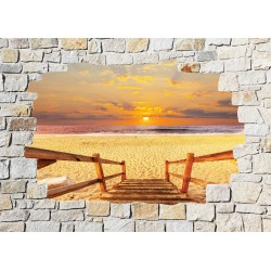 Stickers mural trompe l'oeil pierre déco Mer coucher de soleil