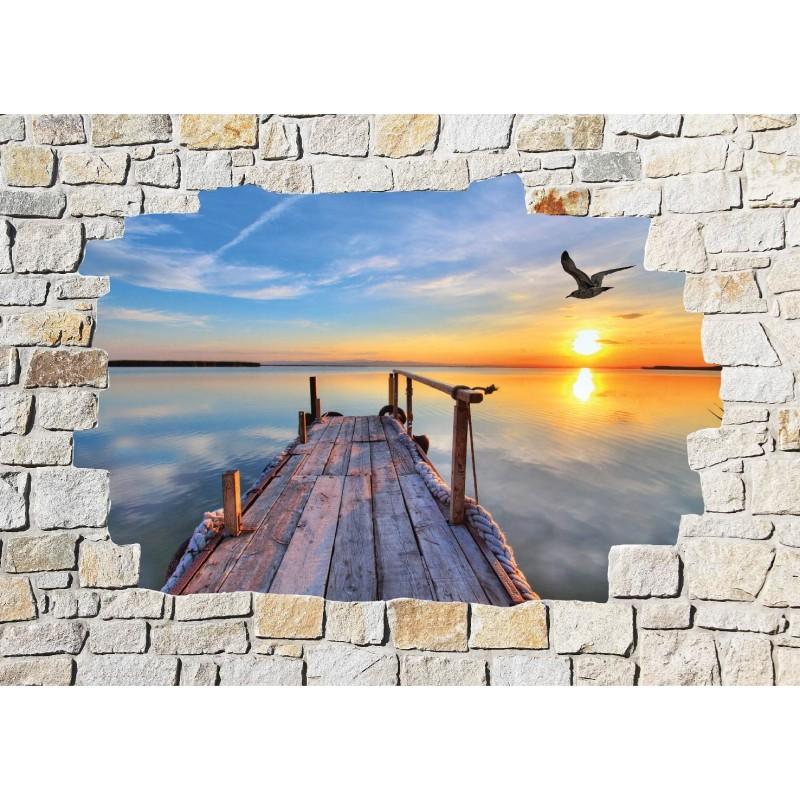 stickers mural trompe l 39 oeil pierre d co ponton art d co. Black Bedroom Furniture Sets. Home Design Ideas