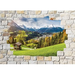 Stickers mural trompe l'oeil pierre déco Montagne