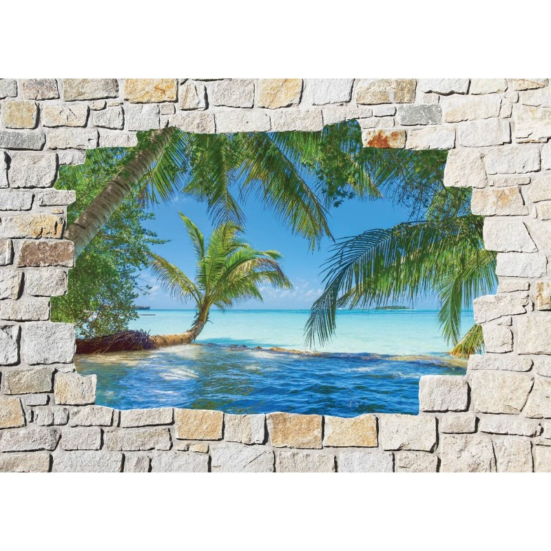 Stickers mural trompe l 39 oeil pierre d co maldives art d co stickers - Deco trompe l oeil muurschildering ...