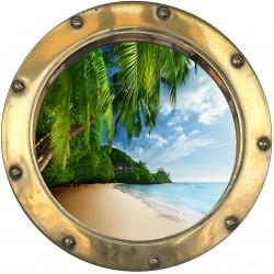 Sticker hublot trompe L'oeil Tropiques