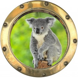 Sticker hublot trompe L'oeil Koala