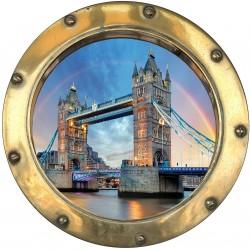 Sticker hublot trompe L'oeil Londres
