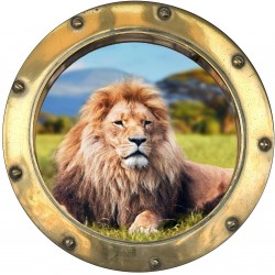 Stickers hublot trompe L'oeil Lion
