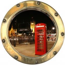Stickers hublot trompe L'oeil Cabine anglaise