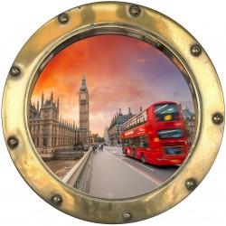 Stickers hublot trompe L'oeil Bus Londres