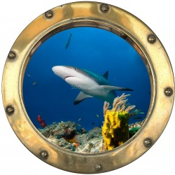 Stickers hublot trompe L'oeil Requin
