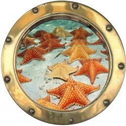 Stickers hublot trompe L'oeil Etoile de mer