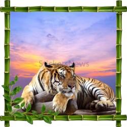 Sticker mural déco bambous Tigre