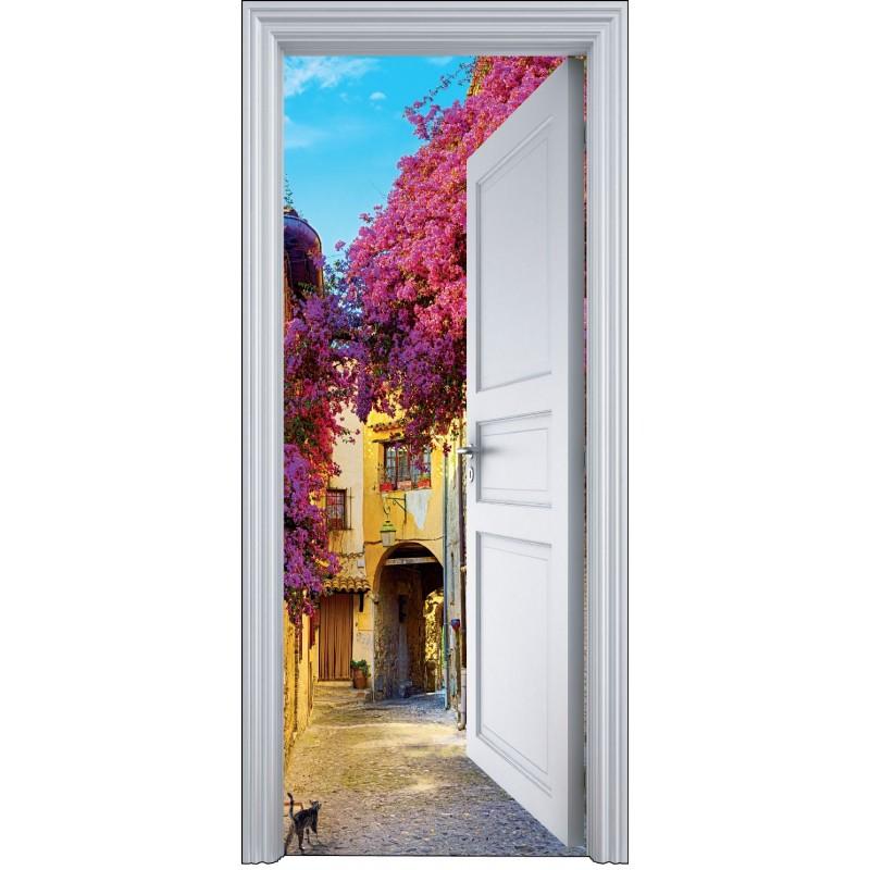sticker porte trompe l 39 oeil village 90x200cm art d co. Black Bedroom Furniture Sets. Home Design Ideas