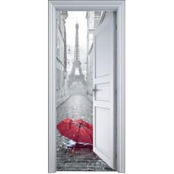 Sticker porte trompe l'oeil Paris parapluie 90x200cm