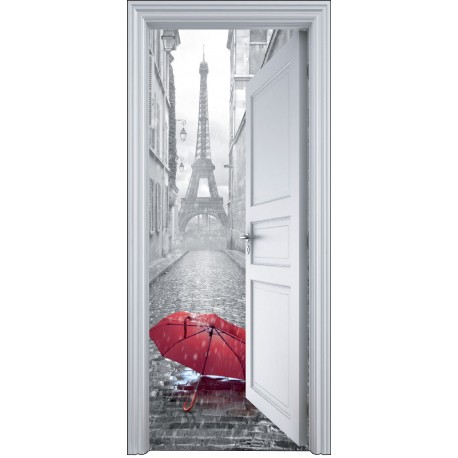 sticker porte trompe l 39 oeil paris parapluie 90x200cm art d co stickers. Black Bedroom Furniture Sets. Home Design Ideas