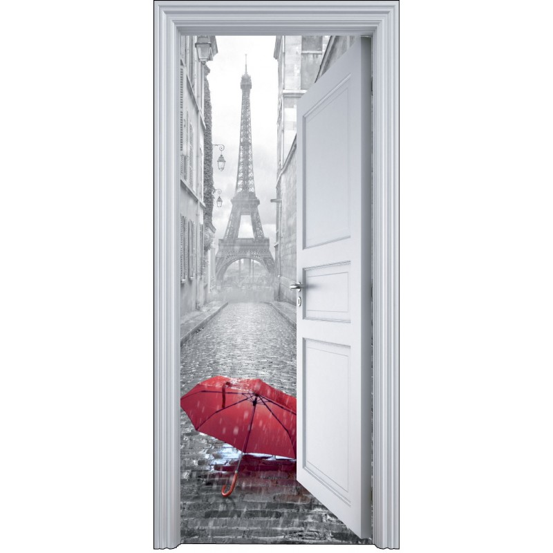 Sticker porte trompe l 39 oeil paris parapluie 90x200cm art for Stickers de porte ancienne
