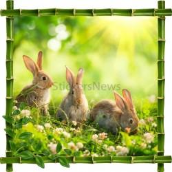 Sticker mural déco bambous Trois petits lapins