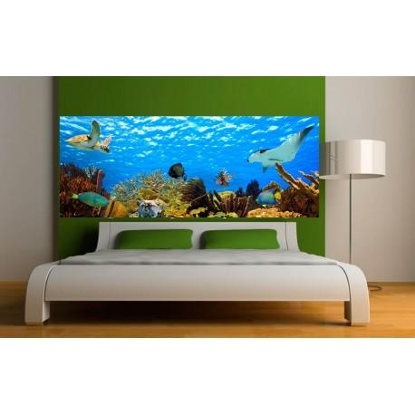 stickers t te de lit d co poissons fond marin art d co stickers. Black Bedroom Furniture Sets. Home Design Ideas