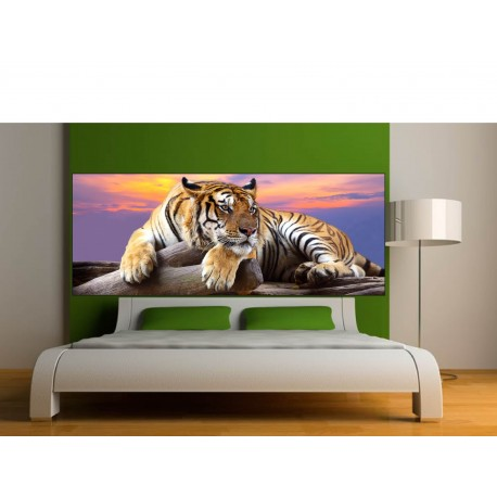 stickers t te de lit d co tigre art d co stickers. Black Bedroom Furniture Sets. Home Design Ideas