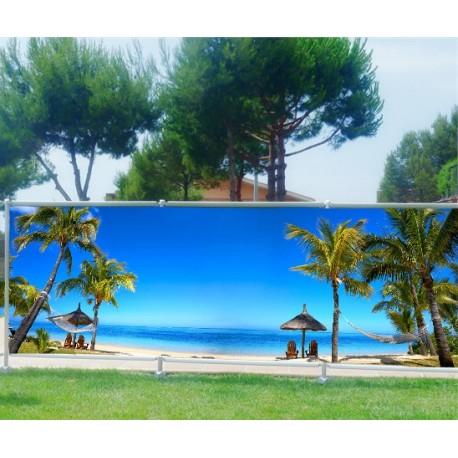 brise vue imprim d co plage paradisique art d co stickers. Black Bedroom Furniture Sets. Home Design Ideas