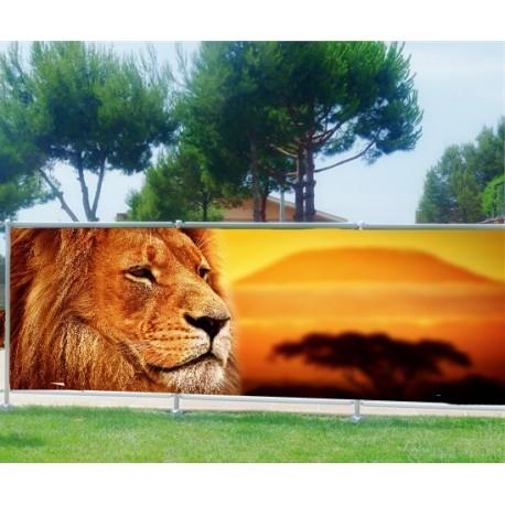 brise vue imprim d co lion art d co stickers. Black Bedroom Furniture Sets. Home Design Ideas