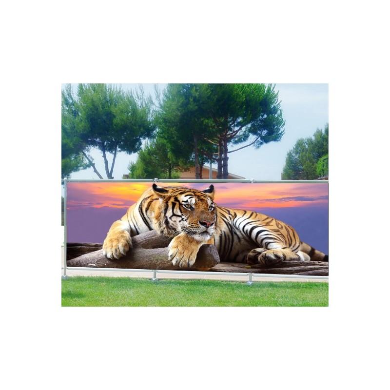 brise vue imprim d co tigre art d co stickers. Black Bedroom Furniture Sets. Home Design Ideas