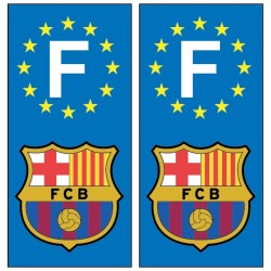 2 Stickers autocollants plaque d'immatriculation Fc Barcelone