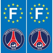 2 Stickers autocollant plaque d'immatriculation PSG