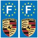 2 Stickers autocollant plaque d'immatriculation Porsche
