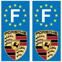 2 Stickers autocollant plaque d'immatriculation Porsche