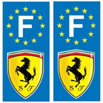 2 Stickers autocollant plaque d'immatriculation Ferrari
