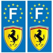 2 Stickers autocollant plaque d'immatriculation Ferrari