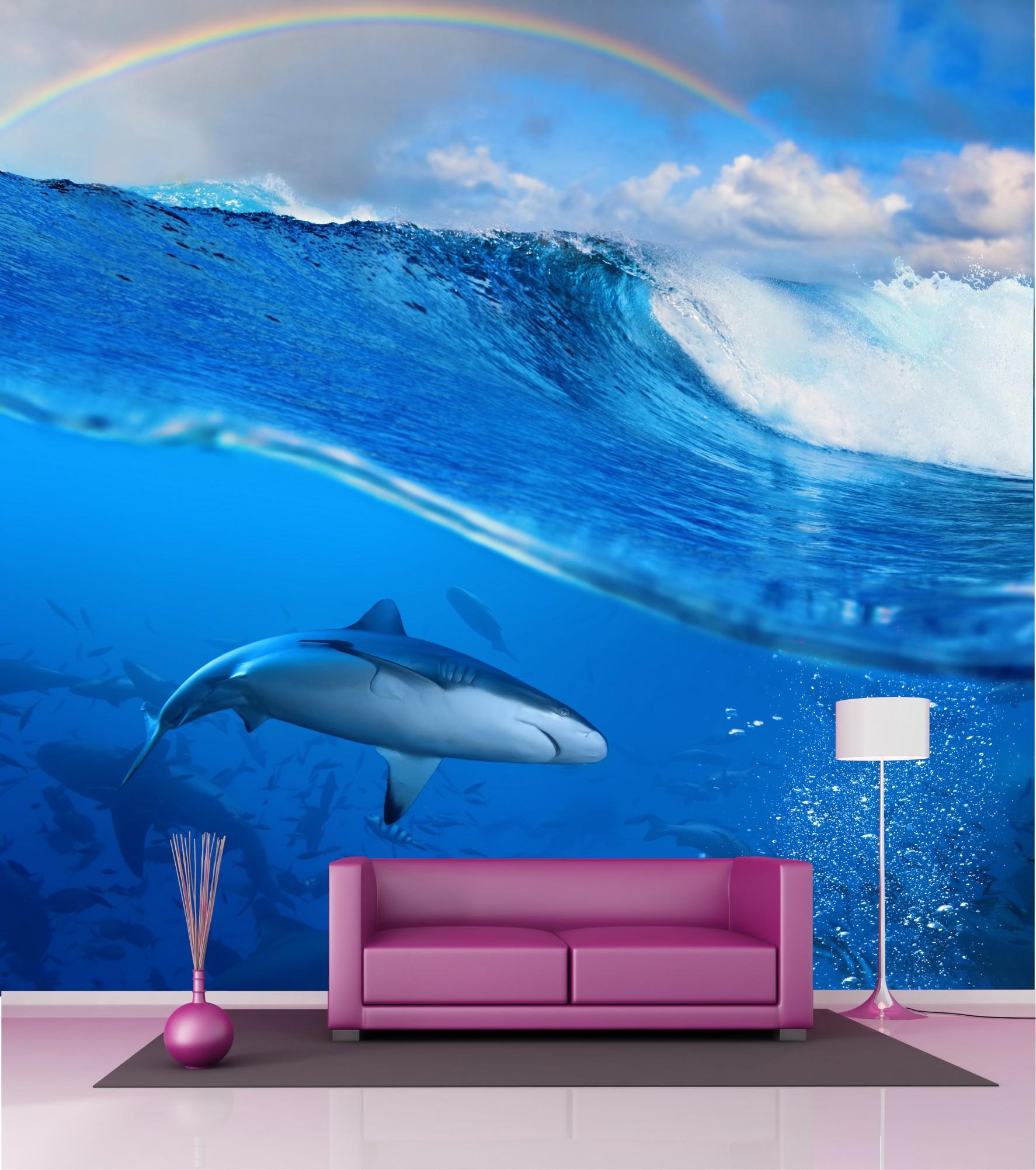 Papier Peint Grande Largeur Requin 2 5x2 5 M Art Deco Stickers