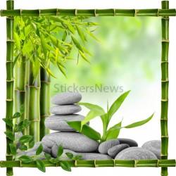 Sticker mural déco bambous Galets et bambous