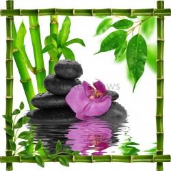 Sticker mural déco bambous Galets et orchidée