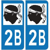 2 Stickers autocollant plaque d'immatriculation 2B Haute Corse