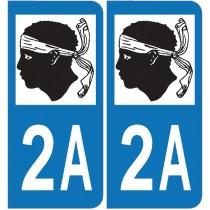 2 Stickers autocollant plaque d'immatriculation 2A Corse du sud
