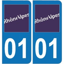 2 Stickers autocollant plaque d'immatriculation 01 - Ain