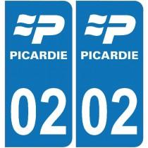 2 Stickers autocollant plaque d'immatriculation 02 - Aisne