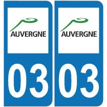 2 Stickers autocollant plaque d'immatriculation 03 - Allier