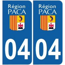 2 Stickers autocollant plaque d'immatriculation 04 - Alpes de haute provence