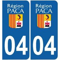 2 Stickers autocollant plaque d'immatriculation 04 - Alpes de haute provence