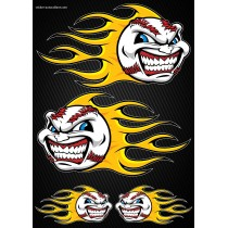 Stickers autocollants Moto Flames Baseball Format A4