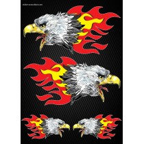 Stickers autocollants Moto Flames Aigles Format A4