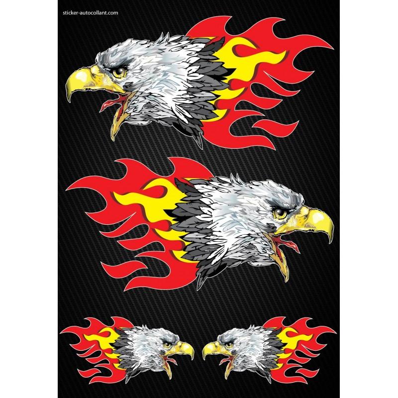 Stickers autocollants moto flames aigles format a4 art for Autocolant mural